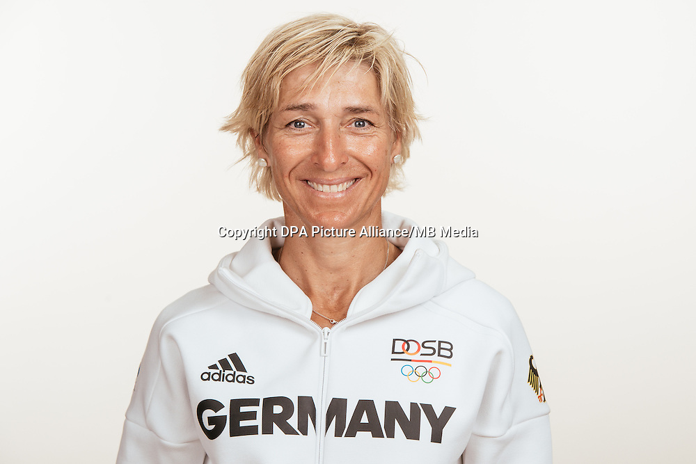 Ingrid Klimke poses at a photocall during the preparations for the Olympic Games in Rio at the Emmich Cambrai Barracks in Hanover, Germany, taken on 18/07/16 | usage worldwide