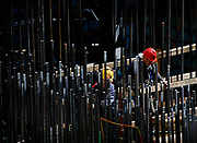 Manhattan, New York, USA, 20090416:  Construction workers are welding rebars at the ongoing building projects at the World Trade Center site in New York.<br /> <br /> The lease owner, Larry Silverstein, has been unable to find financing for the WTC office towers. Consequently, the building could be put off for decades.<br /> <br /> Photo: Orjan F. Ellingvag/ Dagens Naringsliv