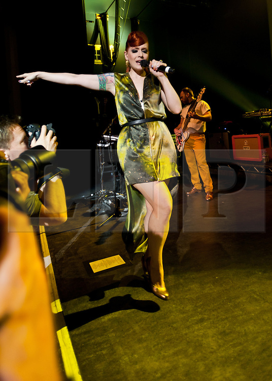 "© Licensed to London News Pictures. 16/05/2012. London, UK. Scissor Sisters perform live at O2 Shepherd's Bush Empire.  They are to perform as part of London's Olympic Festival on the BT River of Music America's Stage during the weekend of the 21-22 July 2012.  The group's fourth album ""Magic Hour"" is due to be released on 28th May.  Scissor Sisters are an American band, formed in 2001, the band ""spawned by the scuzzy, gay nightlife scene of New York"".  Its members comprise Jake Shears and Ana Matronic as vocalists, Babydaddy as multi-instrumentalist, Del Marquis as lead guitar/bassist, and Randy Real as drummer.  In this picture - Ana Matronic.  Photo credit : Richard Isaac/LNP"