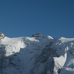 Aerial view of the Sphinx at the Jungfraujoch, Top of Europe, in the Swiss alps.
