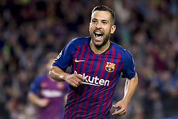 October 24, 2018 - Barcelona, Catalonia, Spain - Jordi Alba cellebrating his score during the UEFA Champion Leage match between FC Barcelona and Internazionale Milano at Camp Nou Stadium in Barcelona, Catalonia, Spain on October 24, 2018  (Credit Image: © Miquel Llop/NurPhoto via ZUMA Press)
