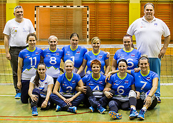 Team Slovenia: Branko Mihorko of Team Slovenia, Lena Gabrscek of Slovenia, Senta Jeler of Slovenia, Danica Gosnak of Slovenia, Nadja Ovcjak of Slovenia, Jana Ferjan of Slovenia, Mira Jakin of Slovenia, Klavdija Antolin of Slovenia, Suzana Ocepek of Slovenia, Jasmina Zbil of Slovenia, Larisa Pirih of Slovenia and Simon Bozic, coach of Slovenia during friendly Sitting Volleyball match between National teams of Slovenia and China, on October 22, 2017 in Sempeter pri Zalcu, Slovenia. (Photo by Vid Ponikvar / Sportida)