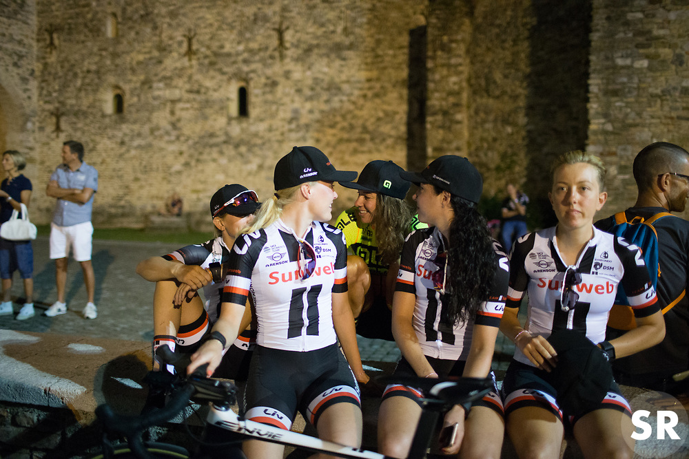 Team Sunweb riders chat to Janneke Ensing (NED) of Ale-Cipollini Cycling Team during the Giro Rosa Team Presentation in Aquileia June 29, 2017 (Photo by Balint Hamvas/Velofocus.com)