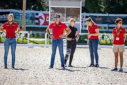 THEODORESCU Monica (Bundestrainer Dressur GER), ERBE Hannah (GER), WESTENDARP Alexa (GER), NETZ Raphael (GER), LINDNER Ann-Kathrin (GER), HEINZE Sebastian (Bundesnachwuchstrainer GER)<br /> Impression am Rande<br /> SOUND-CHECK für die Kür der U25 Reiter<br /> Pilisjászfalu - FEI Youth Dressage EUROPEAN CHAMPIONSHIPS 2020<br /> 20. August 2020<br /> © www.sportfotos-lafrentz.de/Stefan Lafrentz