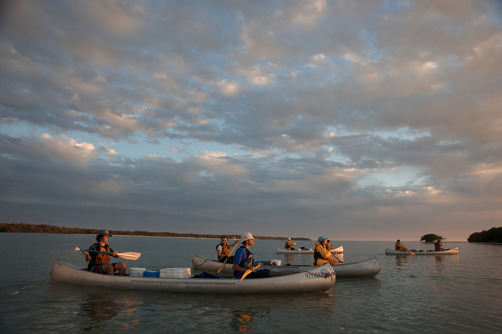An Outward Bound crew paddles towards Hog Key in the Everglades
