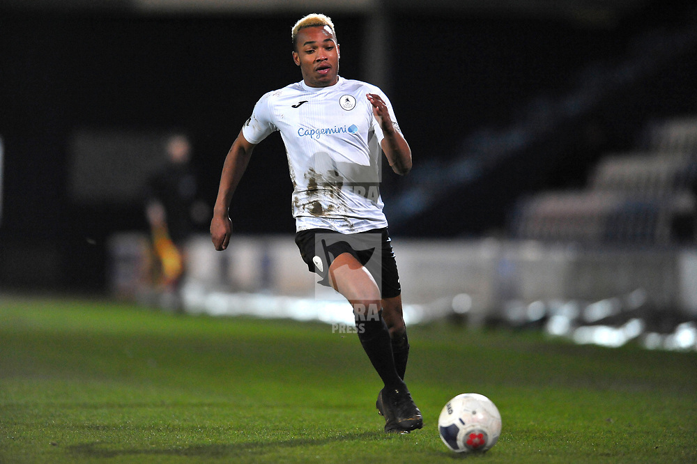 TELFORD COPYRIGHT MIKE SHERIDAN Marcus Dinanga of Telford during the Vanarama Conference North fixture between AFC Telford United and Blyth Spartans at The New Bucks Head on Tuesday, January 28, 2020.<br /> <br /> Picture credit: Mike Sheridan/Ultrapress<br /> <br /> MS201920-043