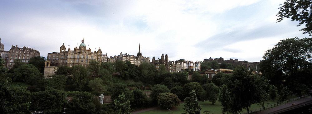 A panoramic view of Edinburgh,Scotland at dusk.