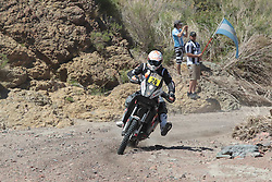 Slovenian Enduro Biker Miran Stanovnik competes during 34th rally Dakar - 2012 edition from Mar del Plata across Argentina, Chile and Peru towards Lima, on January 2, 2012. (Photo by MaindruPhoto)