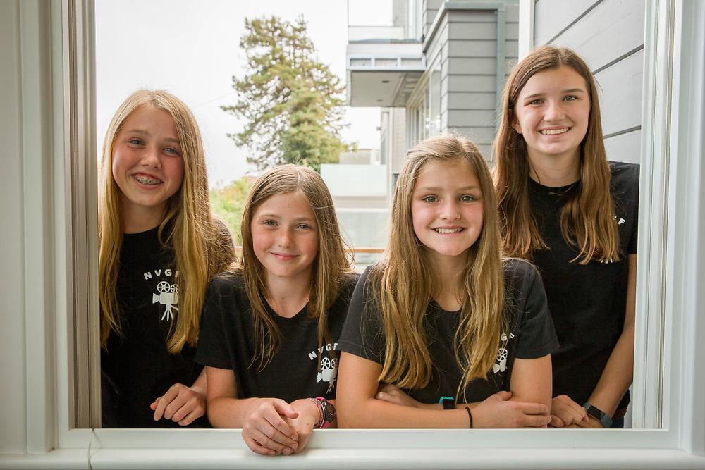 From left: The founders of the Noe Valley Girls Film Festival Charlotte Kane, 14, Caitlin Kane, 11, Maggie Marks, 11, and Ella Marks, 14, on Thursday, Aug. 24, 2017, in San Francisco, Calif.
