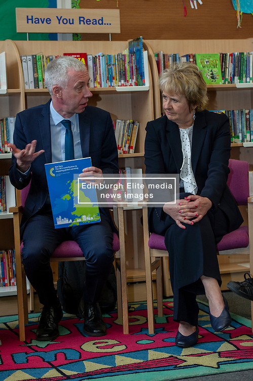 Pictured: Professor Keith Bell and Roseanna Cummingham<br /><br />Climate Change Secretary Roseanna Cunningham visited Abbeyhill Primary School today to discuss with schoolchildren the role Scotland can play in safeguarding the planet as she responds to UK Climate Change Committee recommendations.  She was joined by Professor Keithn Bell, UK Climate Change Committee Scottish Champion as she answered questions from students aged between 7 and 11.   Ger Harley | EEm 2 May 2019