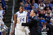 Head coach John Calipari of the Kentucky Wildcats yells at Michael Kidd-Gilchrist #14 during the game against the Iowa State Cyclones during the third round of the NCAA men's basketball championship on March 17, 2012 at KFC Yum! Center in Louisville, Kentucky. Kentucky advanced with an 87-71 win. (Photo by Joe Robbins)