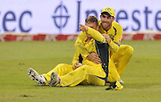 Aaron Finch of Australia celebrates catching out Chris Morris of South Africa during the 2016 T20 International Series match between South Africa and Australia in Kingsmead Stadium Durban, Kwa-Zulu Natal on 04 March 2016©Muzi Ntombela/Backpagepix