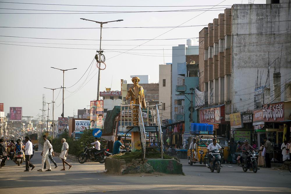 KADIRI, INDIA - 03rd November 2019 - Kadiri town centre at sunset, Andhra Pradesh, South India.