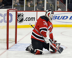 November 8, 2007; Newark, NJ, USA;  New Jersey Devils goalie Martin Brodeur (30) makes a save during the first period at the Prudential Center in Newark, NJ.