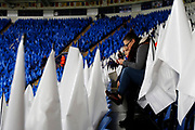 Fans within the King Power stadium, surrounded by flags, during the Champions League round of 16, game 2 match between Leicester City and Sevilla at the King Power Stadium, Leicester, England on 14 March 2017. Photo by Richard Holmes.