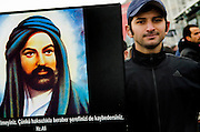 Alevis protest compulsory religion classes at Turkish schools. Istanbul Turkey
