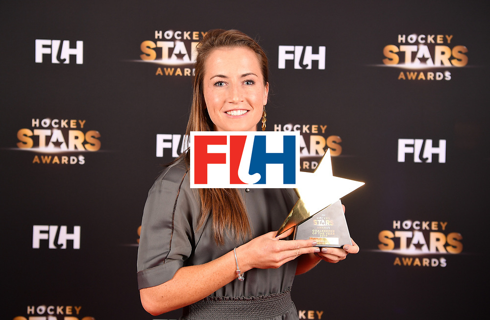 BERLIN, GERMANY - FEBRUARY 05:  Maddie Hinch  of England  holds her award for goalkeeper of the year during the Hockey Star Awards night at Stilwerk on February 5, 2018 in Berlin, Germany.  (Photo by Stuart Franklin/Getty Images For FIH)