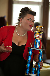 Gracie Allen of Isleton, Calif. poses with the trophy she won for her Spam creation -- Spamtastic pineapple cupcakes, topped with canided Spam and pineapple cream cheese icing -- during the 19th annual Spam Festival, Sunday, Feb. 19, 2017, in Isleton. (Photo by D. Ross Cameron)