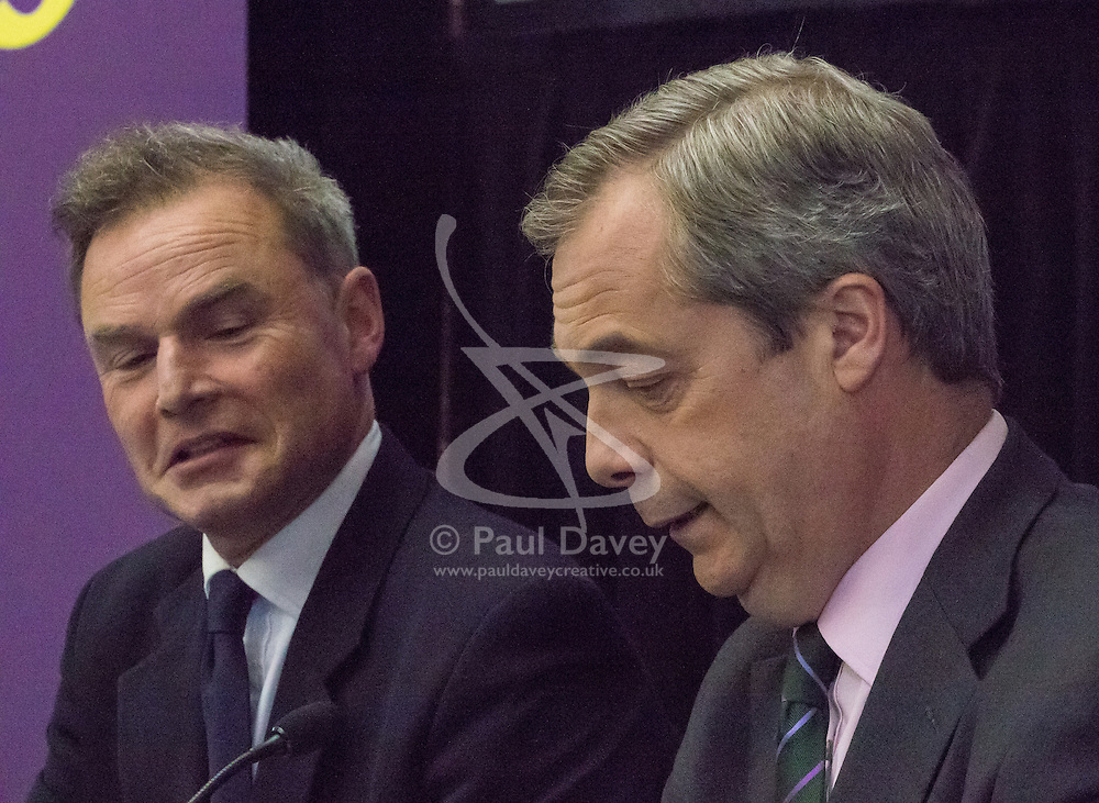 Emmanuel Centre, Westminster, London, April 19th 2016. Mayoral candidate Peter Whittle, left, and party leader Nigel Farage as UKIP launches their London Mayoral campaign manifesto.