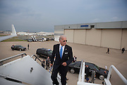 Vice President Joe Biden jogs up the stairs to Air Force 2 at Lambert Field in St. Louis, Missouri, August 20, 2010. (Official White House Photo by David Lienemann)