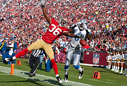 Dec 27, 2009; San Francisco, CA, USA;  San Francisco 49ers cornerback Shawntae Spencer (36) breaks up a pass intended for Detroit Lions wide receiver Calvin Johnson (81) during the first quarter at Candlestick Park. San Francisco defeated Detroit 20-6.