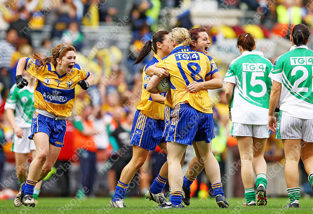27 September 2009; The Clare team celebrate at the end of the game. TG4 All-Ireland Ladies Football Intermediate Championship Final, Clare v Fermanagh, Croke Park, Dublin. Picture credit: Tom·s Greally / SPORTSFILE *** NO REPRODUCTION FEE ***