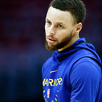 LOS ANGELES, CA - APR 26: Stephen Curry (30) of the Golden State Warriors warms up during Game 6 of the Western Conference First Round on April 26, 2019 at the Staples Center, in Los Angeles, California.