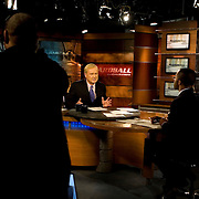 Chris Matthews, with Jonathan Capehart, Editorial Writer for The Washington Post and MSNBC Contributor, during a taping of his show Hardball on MSNBC,  March 20, 2009. Photo by Evelyn Hockstein for the New York Times.