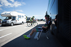 Riejanne Markus (NED) of WM3 Pro Cycling Team relaxes in the shade of the team bus before Stage 4 of the Giro Rosa - a 118 km road race, starting and finishing in Occhiobello on July 3, 2017, in Rovigo, Italy. (Photo by Balint Hamvas/Velofocus.com)