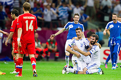16-06-2012 VOETBAL: UEFA EURO 2012 DAY 9: POLEN OEKRAINE<br /> Kostas Katsouranis  of Greece and Grigoris Makos  of Greece celebrate after winning the UEFA EURO 2012 group A match between  Greece and Russia at The National Stadium<br /> ***NETHERLANDS ONLY***<br /> ©2012-FotoHoogendoorn.nl