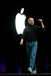 10/16/03, SAN  FRANCISCO, CALIFORNIA, UNITED STATES--Apple CEO Steve Jobs introduces the Apple iTunes for Windows products during the launch event at the Moscone Center in San Francisco, California. Photo by  Kim Kulish