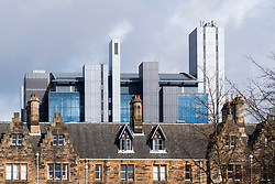 View of modern Glasgow University Library and older buildings at University of Glasgow , Scotland, United Kingdom