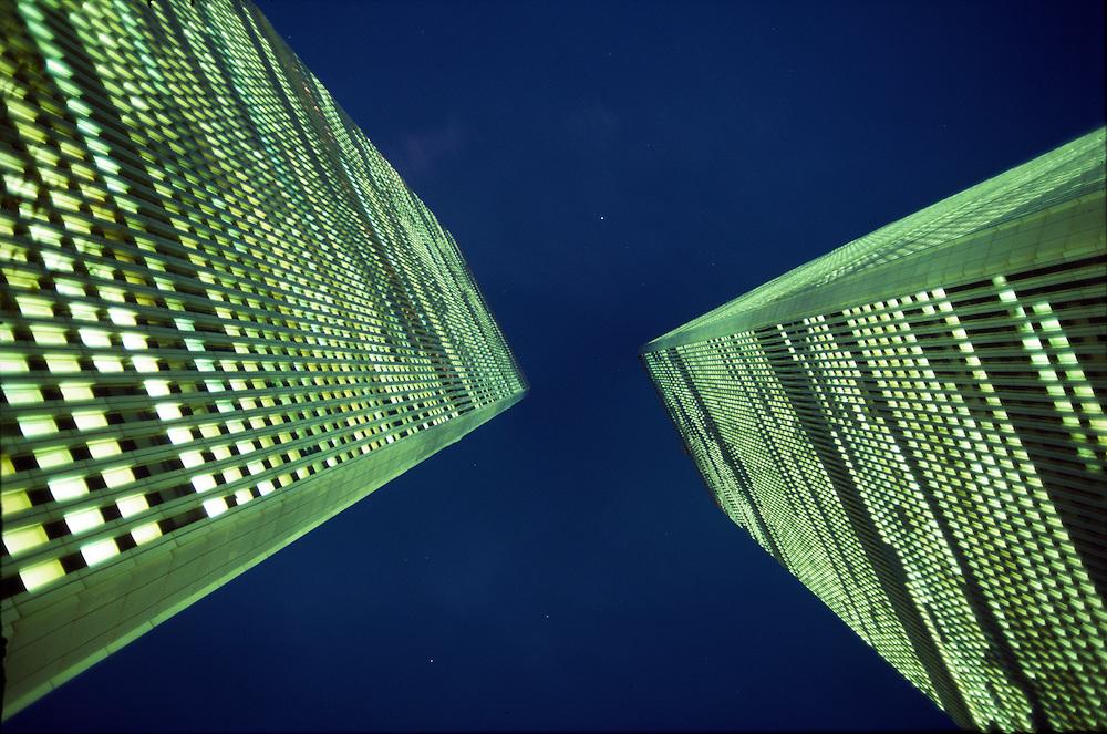 NYC, NY, World Trade Center, Twin Towers, night looking up, designed by Minoru Yamasaki, International Style II