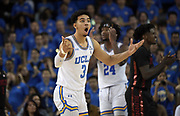 Nov 15, 2019; Los Angeles, CA, USA; UCLA Bruins guard Jules Bernard (3) reacts against the UNLV Rebels in the first half at Pauley Pavilion. UCLA defeated UNLV 71-54.