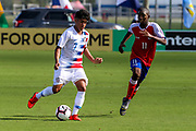 Team USA forward Oswaldo Reyes (7) dribbles the ball up the pitch during a CONCACAF boys under-15 championship soccer game, Sunday, Aug. 4, 2019, in Bradenton, Fla. The USA defeated Haiti 2-0 (Kim Hukari/Image of Sport)