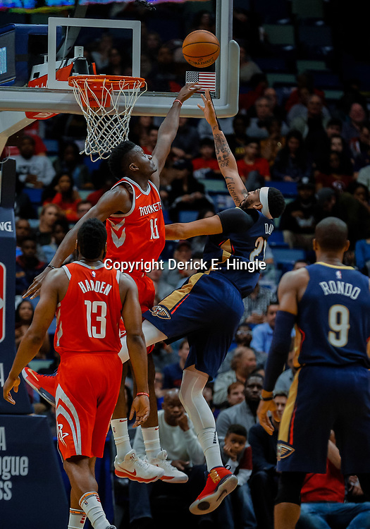 Jan 26, 2018; New Orleans, LA, USA; New Orleans Pelicans forward Anthony Davis (23) shoots over Houston Rockets center Clint Capela (15) during the first quarter at the Smoothie King Center. Mandatory Credit: Derick E. Hingle-USA TODAY Sports