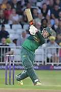 Tom Moores launches a six during the NatWest T20 Blast Quarter Final match between Notts Outlaws and Somerset County Cricket Club at Trent Bridge, West Bridgford, United Kingdom on 24 August 2017. Photo by Simon Trafford.