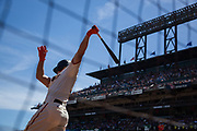 San Francisco Giants catcher Nick Hundley (5) warms up in the batter's box against the Los Angeles Dodgers at AT&T Park in San Francisco, California, on April 27, 2017. (Stan Olszewski/Special to S.F. Examiner)