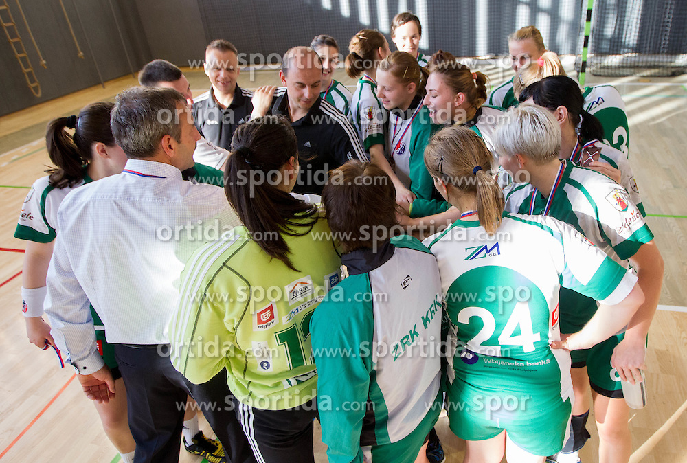 Players of Krka after the last game of 1st A Slovenian Women Handball League season 2011/12 between ZRK Krka and RK Krim Mercator, on May 8, 2012 in Stopice at Novo mesto, Slovenia. RK Krim Mercator became Slovenian National Champion, GEN-I Zagorje placed second and ZRK Krka placed third. (Photo by Vid Ponikvar / Sportida.com)