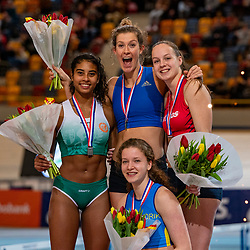 Killiana Heymans second, Femke Pluim first, Marijke Wijnmaalen and Fleur van der Linden third on pole vault during the Dutch Indoor Athletics Championship on February 23, 2020 in Omnisport De Voorwaarts, Apeldoorn