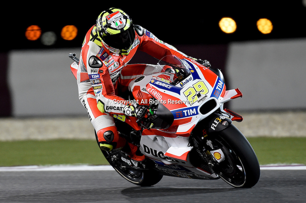 19.03.2016. Losail International Circuit, Doha, Qatar.Commercial Bank Grand Prix of Qatar. Andrea Iannone (Ducati team)  during the qualifying sessions.