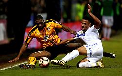 Uche Ikpeazu of Cambridge United challenges Tyler Denton of Leeds United - Mandatory by-line: Robbie Stephenson/JMP - 09/01/2017 - FOOTBALL - Cambs Glass Stadium - Cambridge, England - Cambridge United v Leeds United - FA Cup third round