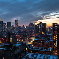 Evening/sunset view over the Lower East Side and downtown Manhattan in Winter.