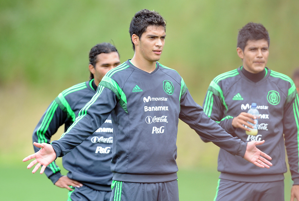 Mexico Footballer Raul Jimenez at the teams first training run at Dave Farrington Park, Miramar after their arrival for the FIFA World Cup qualifier match against New Zealand on Wednesday, Wellington, New Zealand, Sunday, November 17, 2013. Credit:SNPA / Ross Setford