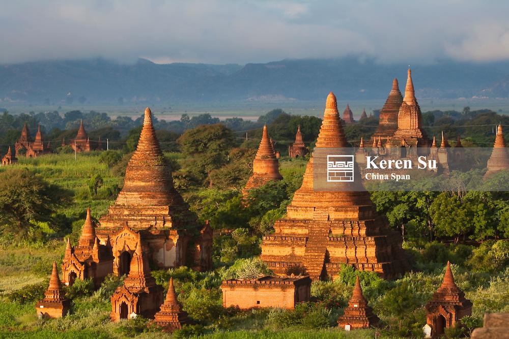 Temples at sunrise, Bagan, Myanmar