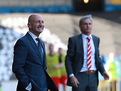 Millwall Manager, Ian Holloway and Charlton Athletic Head Coach, Jose Riga look on - Photo mandatory by-line: Robin White/JMP - Tel: Mobile: 07966 386802 15/03/2014 - SPORT - FOOTBALL - The Den - Millwall - Millwall v Charlton Athletic - Sky Bet Championship