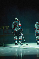 KELOWNA, CANADA - MARCH 7: Leon Draisaitl #29 of Kelowna Rockets lines up against the Spokane Chiefs on March 7, 2015 at Prospera Place in Kelowna, British Columbia, Canada.  (Photo by Marissa Baecker/Shoot the Breeze)  *** Local Caption *** Leon Draisaitl;