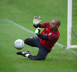 CARDIFF, WALES - Wednesday, October 10, 2012: Wales' goalkeeper Jason Brown during a training session at the Vale of Glamorgan ahead of the 2014 FIFA World Cup Brazil Qualifying Group A match against Scotland. (Pic by David Rawcliffe/Propaganda)