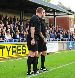 The match officials decide that Bristol Rovers' Ellis Harrison goal can stand - Photo mandatory by-line: Neil Brookman/JMP - Mobile: 07966 386802 - 25/10/2014 - SPORT - Football - Dorchester - The Avenue Stadium - Dorchester Town v Bristol Rovers - FA Cup Qualifying with Budweiser