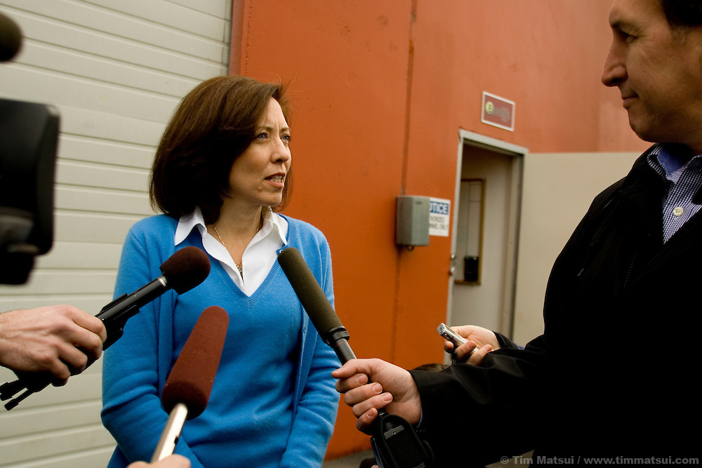 "SEATTLE, WA - Friday, January 27, 2006 U.S. Senator Maria Cantwell (D-WA) is interviewed outside of Seattle Biodiesel where she and U.S. Senator Hillary Clinton (D-NY) stopped to promote energy independence and call for a greater federal support for ground-brakening alternative energy initiatives already underway at the local level. Cantwell is signing on to Clinton's legislation to create a latter-day ""Manhattan Project"" aimed at accelerating the development of advanced energy technologies.  The two senators, with democratic leader Harry Reid (D-NV) are sponsoring the Advanced Research Projects Energy (ARPA-E) Act to fund alternative energy research. Cantwell states that reliance on foreign oil is a threat to the U.S. economy, competitiveness, and national security and she supports development of non-petroleum based fuels and energy sources. Seattle Biodiesel is working with Cantwell and Washington Governor Gregoire to help develop a market for biodiesel and recently signed a fuel contract with the Port of Seattle. Negotiations are currently underway for Seattle Biodiesel to expand its operations to create the nation's largest biodiesel refinery and to do so on Port property. Clinton is also in the Pacific Northwest to support her fellow democrats at fundraisers and to solidify her support. (Photo by Tim Matsui/WpN)"
